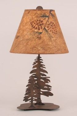 Timber Ridge Pine Tree Lamp with Painted Shade