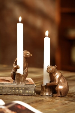 Bear Candle Holders - Pair