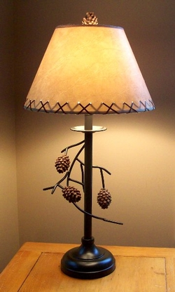Rustic cabin and bear table lamps pine cone branch table lamp mozeypictures Images