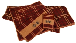 Pinecone Plaid Hand Towels - set of four