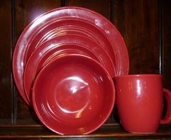 Stoneware Dinner Set - Red Delicious - 16 piece & Cabin Rustic Lodge Decor Dinnerware | Dinnerware | Cabin 9 Design