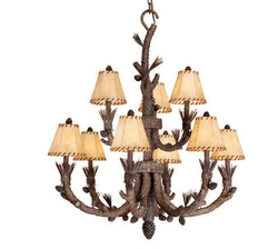 Aspen 9L Chandelier Pine Tree Finish w/ Shades