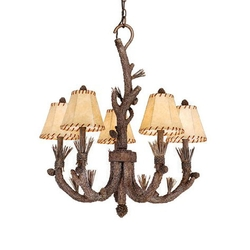 Rustic cabin lamps and lighting chandeliers aspen 5 light chandelier pine tree finish w shades mozeypictures Gallery