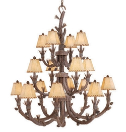 Aspen 16 Light Chandelier Pine Tree Finish w/ Shades