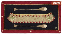 Red Longboat - 2' x 4' Hooked Rug