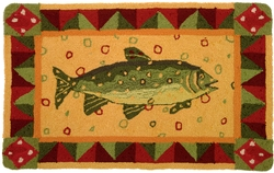 Lake Fish Hooked Accent Rug