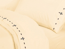 Embroidered Cross Sheet Set