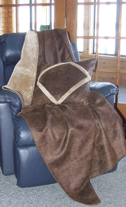 Faux Leather Throw - Crocodile Brown