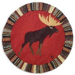 Cinnamon Moose Round Rug - 36