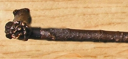 Knobby Branch Handle with Pine Cone  -12