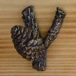 Bronze Lodgepole Pine Cone Hook - Large Closed Cone