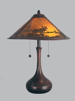 Rustic cabin and bear table lamps wilderness traditional table lamp mica shade aloadofball Image collections