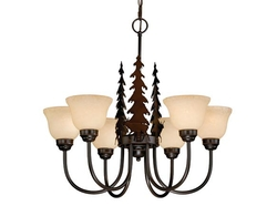 Rustic 6 Light Chandelier - Bozeman - Yellowstone - Yosemite- Bryce