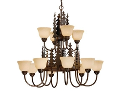 Yellowstone 12 Light Chandelier - Burnished Bronze