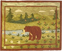 Bear in Meadow Hooked Rug
