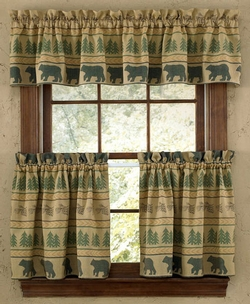 Bear Tracks Lined Tier Curtains 24