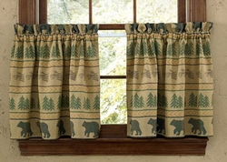 Bear Tracks Lined Tier Curtains