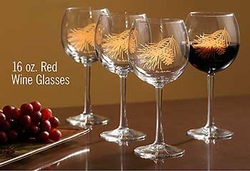 Pinecone Red Wine Glasses - Gold - Set of 4