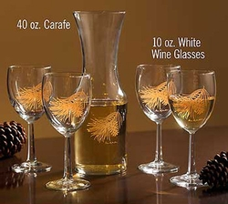 Glass Carafe Gold Pine Cones