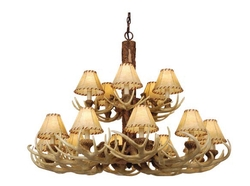 Lodge 15L Chandelier w/ Faux Leather Shades