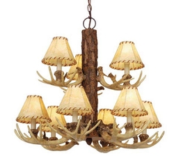Lodge 9 Light Faux Anter Chandelier