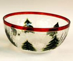 Decorative Crackle Glass Bowl with Pinecone Accents