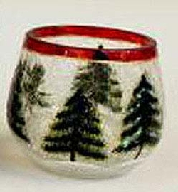 Decorative Crackle Glass Votive with Pinecone Accents