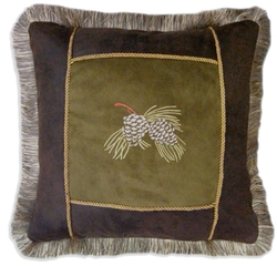 Embroidered Pinecone Throw Pillow