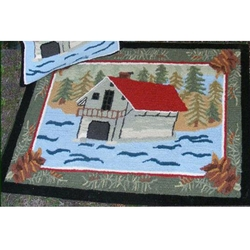 Boat House Wool Hooked Rug - 2' x 3'