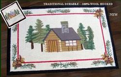 Cabin Wool Hooked Rug