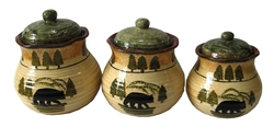 Bear Ceramic Canister Set - 3 Piece