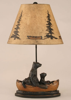 Bear Family in Wooden Canoe Table Lamp