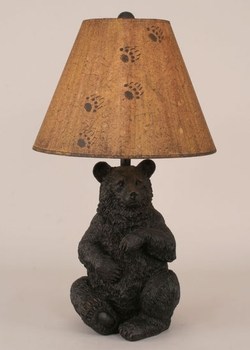 Elegant Sitting Black Bear Table Lamp