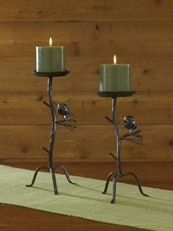 Pine Lodge Pillar Candleholder - Set of 2