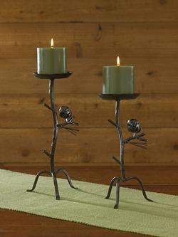 Pine Lodge Pillar Candleholder - Set of 2