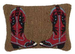 Cowboy Boots Red on Brown Pillow