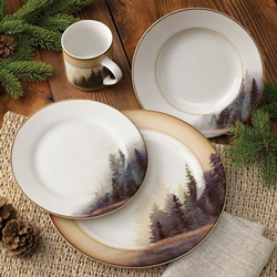 Misty Forest Dinnerware Set - 16 pieces & Cabin Rustic Lodge Decor Dinnerware | Dinnerware | Cabin 9 Design