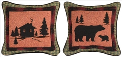 Bear Lodge Tapestry Reversible Pillow - Set of 2