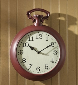 Oversized Red Pocket Watch Wall Clock
