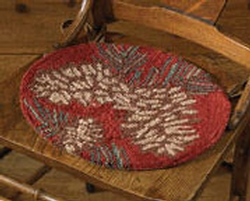 Pine cone Hooked Chair Pad 14.5