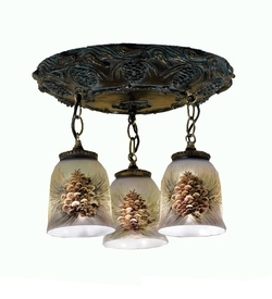 Northwoods Pinecone 3 light Flush Mount