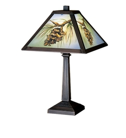 Northwoods Pinecone Painted Lamp