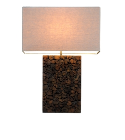 Mosaic Stick Lamp - w/ Linen Shade