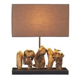 Teak Root Table Lamp - with Shade