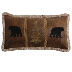 Bear Pillow with Bear and Trees