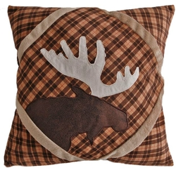 Brown Plaid Moose Pillow (shown on chair)