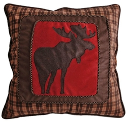 Brown Plaid Frame Moose Pillow (shown on bed right)