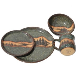 Dinnerware Pottery Set - Mountain Scene