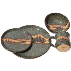 Dinnerware Pottery Set - Mountain Scene