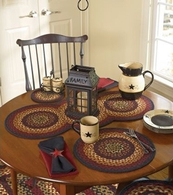 Folk Art Braided Placemat - Set of 2 & Rustic Cabin Table Runners u0026 Placemats